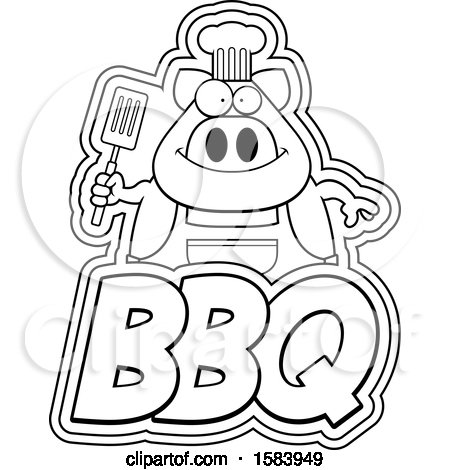 Clipart of a Lineart Grilling Chef Pig Holding a Spatula over Bbq Text - Royalty Free Vector Illustration by Cory Thoman