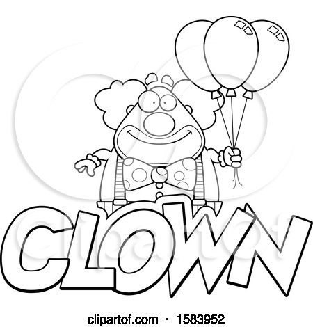 Clipart Of A Lineart Clown With Balloons And Text