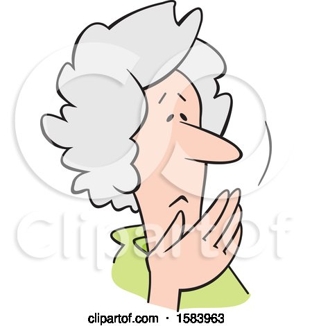 Clipart of a Cartoon Worried Senior Caucasian Woman Covering Her Mouth, Oh My - Royalty Free Vector Illustration by Johnny Sajem