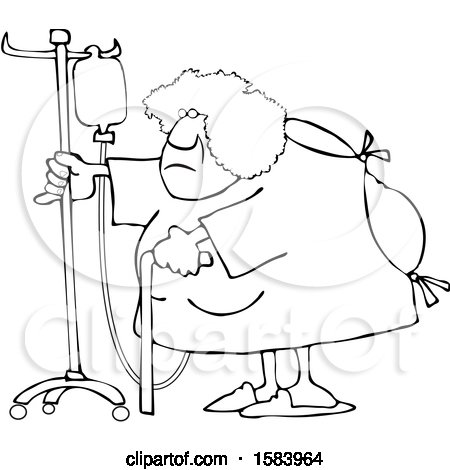 Clipart of a Cartoon Lineart Hospitalized Black Woman Walking Around with an Intravenous Drip Line - Royalty Free Vector Illustration by djart