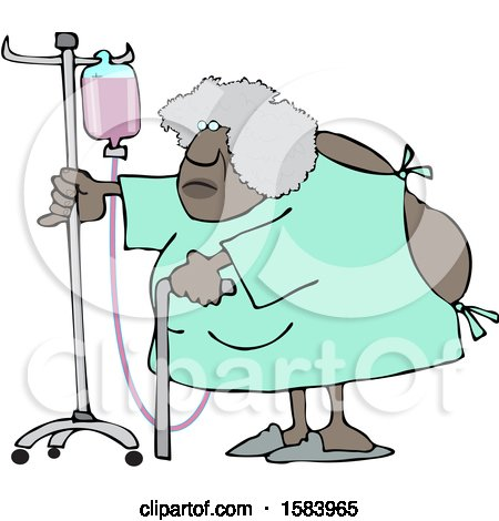 Clipart of a Cartoon Hospitalized Black Woman Walking Around with an Intravenous Drip Line - Royalty Free Vector Illustration by djart