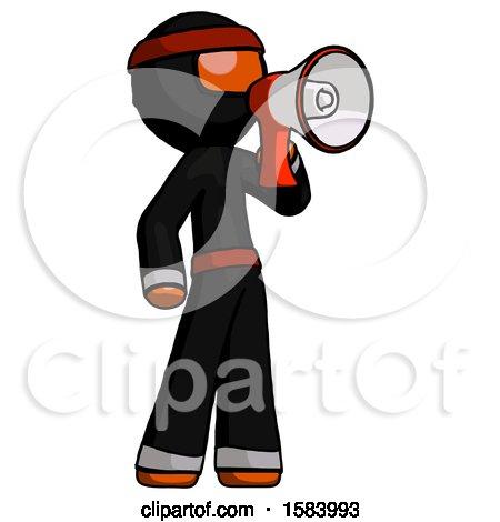 Orange Ninja Warrior Man Shouting into Megaphone Bullhorn Facing Right by Leo Blanchette
