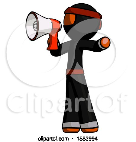 Orange Ninja Warrior Man Shouting into Megaphone Bullhorn Facing Left by Leo Blanchette
