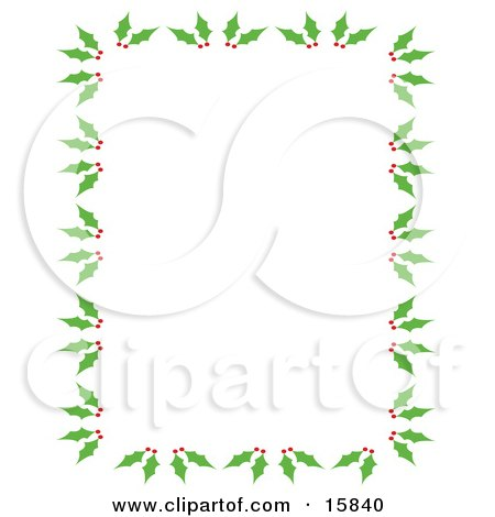 Stationery Border Of Holly And Berries Over A White Background Clipart Illustration by Andy Nortnik