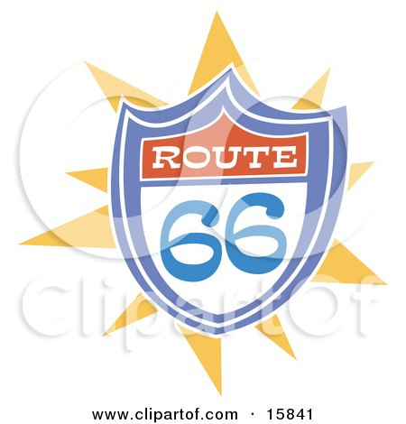 Colorful Route 66 Highway Sign Clipart Illustration by Andy Nortnik
