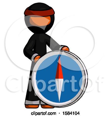 Orange Ninja Warrior Man Standing Beside Large Compass by Leo Blanchette