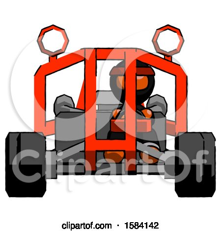 Orange Ninja Warrior Man Riding Sports Buggy Front View by Leo Blanchette