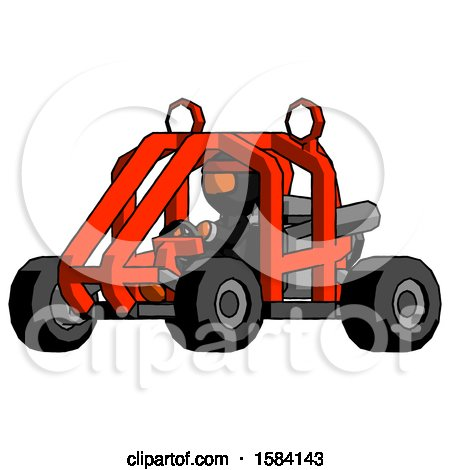 Orange Ninja Warrior Man Riding Sports Buggy Side Angle View by Leo Blanchette