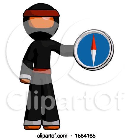 Orange Ninja Warrior Man Holding a Large Compass by Leo Blanchette