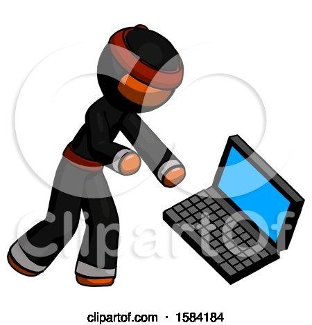 Orange Ninja Warrior Man Throwing Laptop Computer in Frustration by Leo Blanchette
