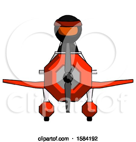 Orange Ninja Warrior Man in Geebee Stunt Plane Front View by Leo Blanchette