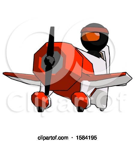 Orange Ninja Warrior Man Flying in Geebee Stunt Plane Viewed from Below by Leo Blanchette