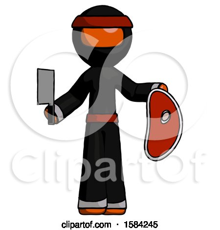 Orange Ninja Warrior Man Holding Large Steak with Butcher Knife by Leo Blanchette