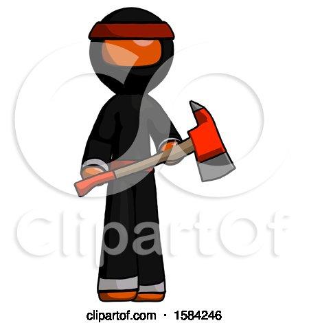 Orange Ninja Warrior Man Holding Red Fire Fighter's Ax by Leo Blanchette
