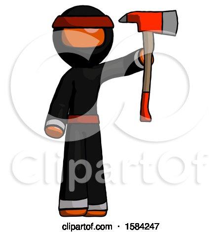 Orange Ninja Warrior Man Holding up Red Firefighter's Ax by Leo Blanchette