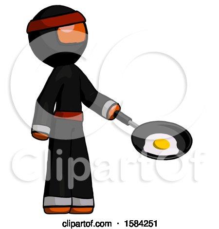 Orange Ninja Warrior Man Frying Egg in Pan or Wok Facing Right by Leo Blanchette