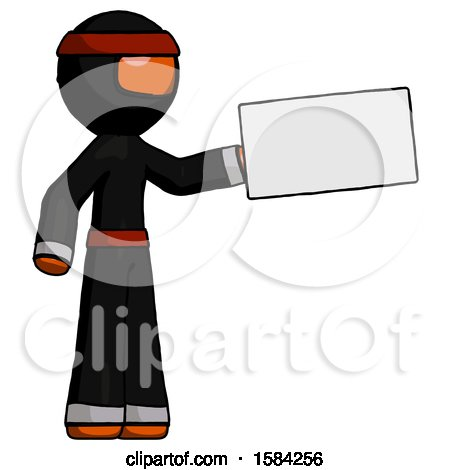 Orange Ninja Warrior Man Holding Large Envelope by Leo Blanchette