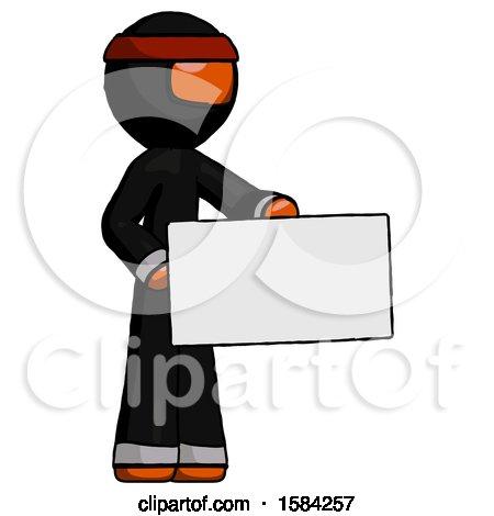 Orange Ninja Warrior Man Presenting Large Envelope by Leo Blanchette