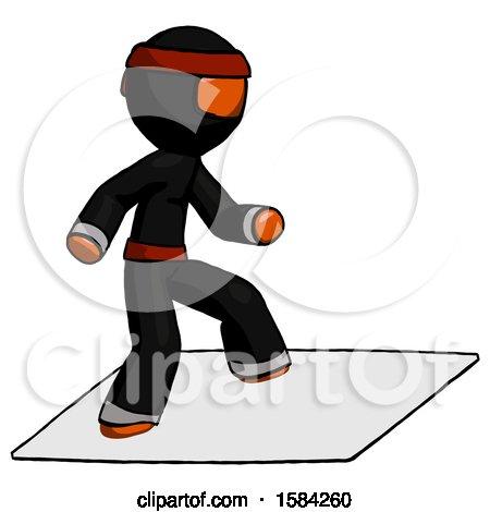 Orange Ninja Warrior Man on Postage Envelope Surfing by Leo Blanchette