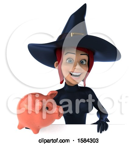 Clipart of a 3d Sexy Blue Witch Holding a Piggy Bank, on a White Background - Royalty Free Illustration by Julos