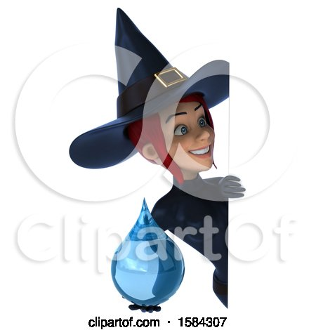 Clipart of a 3d Sexy Blue Witch Holding a Water Drop, on a White Background - Royalty Free Illustration by Julos