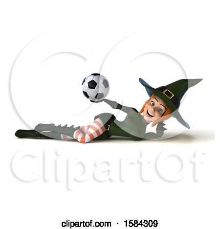 Clipart of a 3d Sexy Green Witch Holding a Soccer Ball, on a White Background - Royalty Free Illustration by Julos
