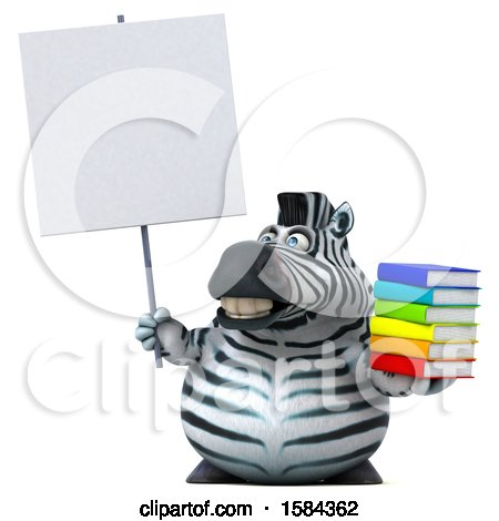 Clipart of a 3d Zebra Holding Books, on a White Background - Royalty Free Illustration by Julos