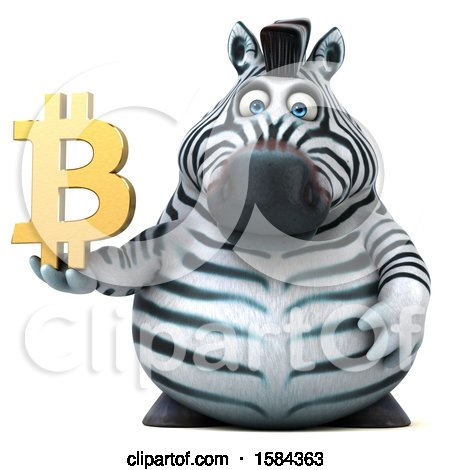 Clipart of a 3d Zebra Holding a Bitcoin Symbol, on a White Background - Royalty Free Illustration by Julos