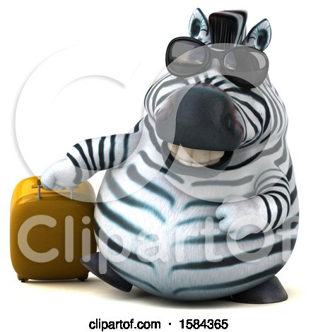 Clipart of a 3d Zebra Traveling, on a White Background - Royalty Free Illustration by Julos