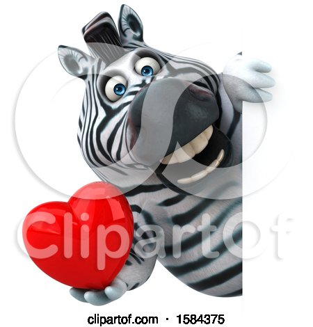 Clipart of a 3d Zebra Holding a Heart, on a White Background - Royalty Free Illustration by Julos