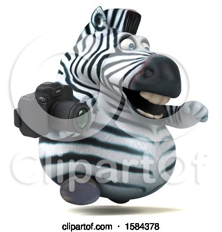 Clipart of a 3d Zebra Holding a Camera, on a White Background - Royalty Free Illustration by Julos