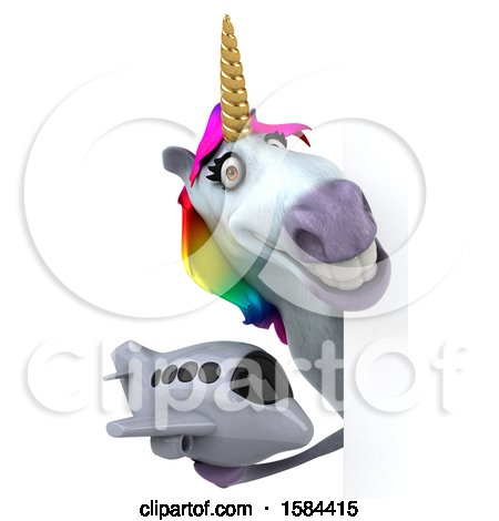 Clipart of a 3d Unicorn Holding a Plane, on a White Background - Royalty Free Illustration by Julos