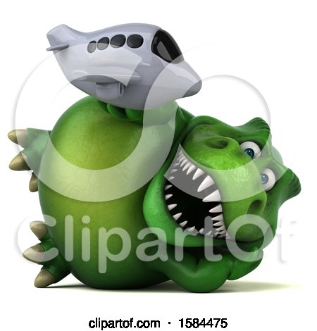 Clipart of a 3d Green T Rex Dinosaur Holding a Plane, on a White Background - Royalty Free Illustration by Julos