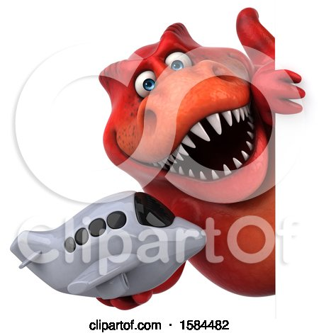 Clipart of a 3d Red T Rex Dinosaur Holding a Plane, on a White Background - Royalty Free Illustration by Julos