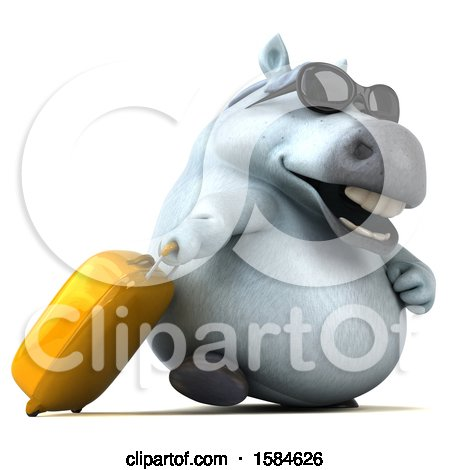 Clipart of a 3d Chubby White Horse Traveler, on a White Background - Royalty Free Illustration by Julos