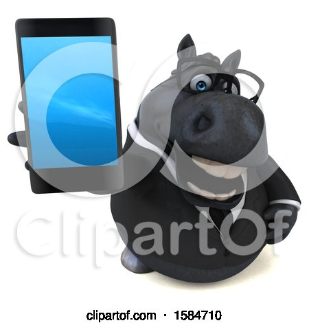 Clipart of a 3d Chubby Black Business Horse Holding a Smart Phone, on a White Background - Royalty Free Illustration by Julos