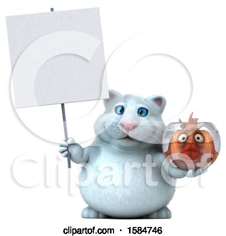 Clipart of a 3d White Kitty Cat Holding a Fish Bowl, on a White Background - Royalty Free Illustration by Julos
