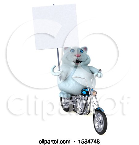 Clipart of a 3d White Kitty Cat Riding a Chopper Motorcycle, on a White Background - Royalty Free Illustration by Julos