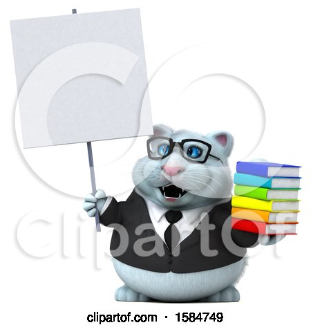 Clipart of a 3d White Business Kitty Cat Holding Books, on a White Background - Royalty Free Illustration by Julos