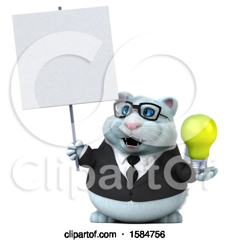 Clipart of a 3d White Business Kitty Cat Holding a Light Bulb, on a White Background - Royalty Free Vector Illustration by Julos