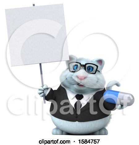 Clipart of a 3d White Business Kitty Cat Holding a Pill, on a White Background - Royalty Free Vector Illustration by Julos