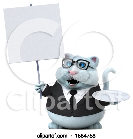 Clipart of a 3d White Business Kitty Cat Holding a Plate, on a White Background - Royalty Free Vector Illustration by Julos