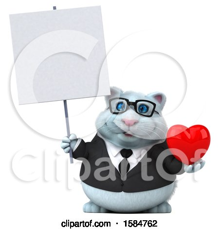 Clipart of a 3d White Business Kitty Cat Holding a Heart, on a White Background - Royalty Free Vector Illustration by Julos