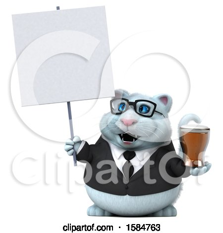 Clipart of a 3d White Business Kitty Cat Holding a Beer, on a White Background - Royalty Free Vector Illustration by Julos
