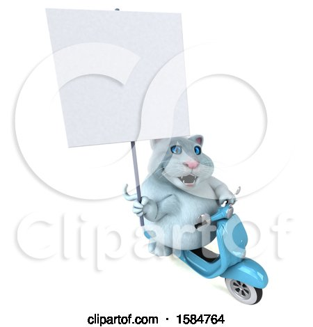 Clipart of a 3d White Kitty Cat Riding a Scooter, on a White Background - Royalty Free Vector Illustration by Julos