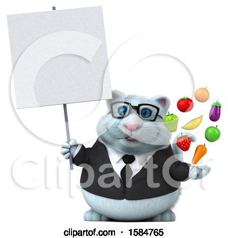 Clipart of a 3d White Business Kitty Cat Holding Produce, on a White Background - Royalty Free Vector Illustration by Julos