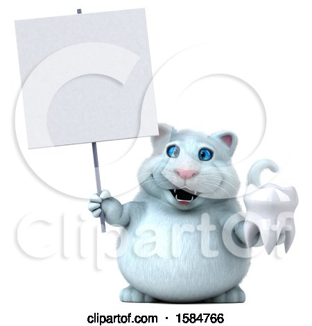 Clipart of a 3d White Kitty Cat Holding a Tooth, on a White Background - Royalty Free Vector Illustration by Julos