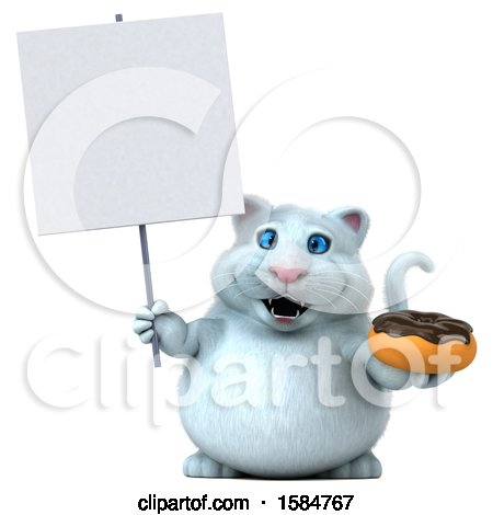 Clipart of a 3d White Kitty Cat Holding a Donut, on a White Background - Royalty Free Vector Illustration by Julos