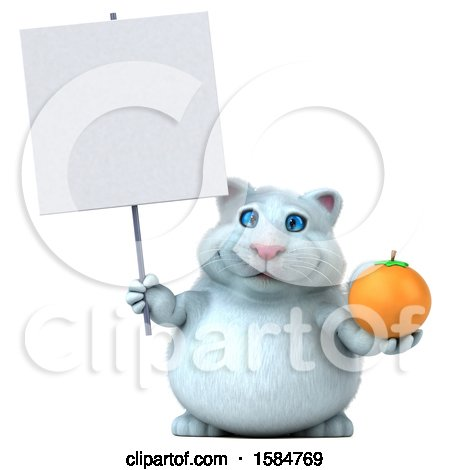 Clipart of a 3d White Kitty Cat Holding an Orange, on a White Background - Royalty Free Vector Illustration by Julos