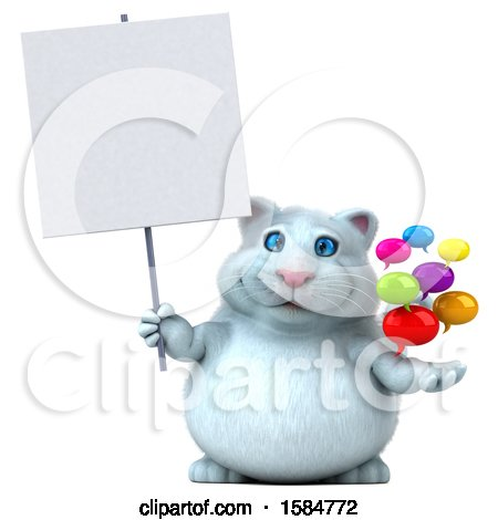 Clipart of a 3d White Kitty Cat Holding Messages, on a White Background - Royalty Free Vector Illustration by Julos